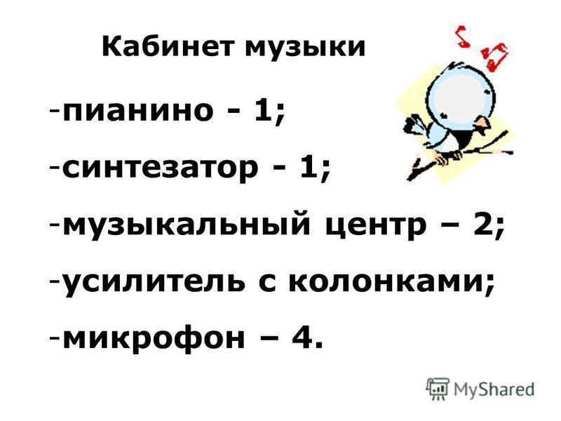 Кабинет музыки -п-пианино - 1; -с-синтезатор - 1; -м-музыкальный центр – 2; -у-усилитель с колонками; -м-микрофон – 4.
