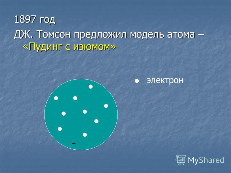 1897 год ДЖ. Томсон предложил модель атома – «Пудинг с изюмом» электрон +