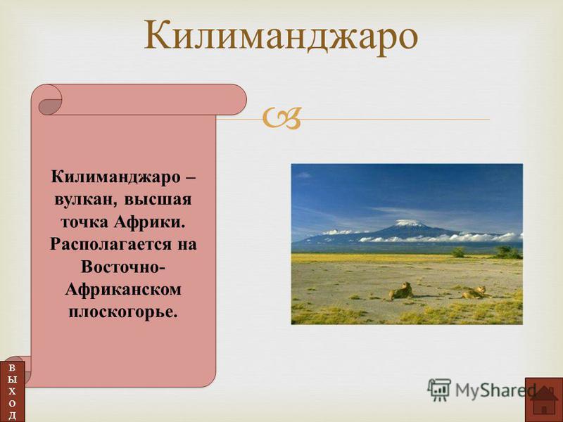 Килиманджаро – вулкан, высшая точка Африки. Располагается на Восточно- Африканском плоскогорье. выход Килиманджаро