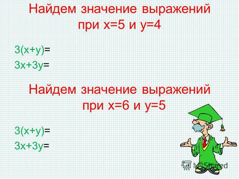 Найдем значение выражений при х=5 и у=4 3(х+у)=3(5+4)=3·9=27 3 х+3 у=3·5+3·4=27 Найдем значение выражений при х=6 и у=5 3(х+у)=3(6+5)=3·11=33 3 х+3 у=3·6+3·5=33