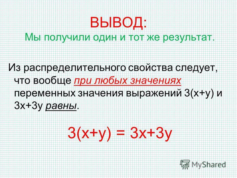 ВЫВОД: Мы получили один и тот же результат. Из распределительного свойства следует, что вообще при любых значениях переменных значения выражений 3(х+у) и 3 х+3 у равны. 3(х+у) = 3 х+3 у