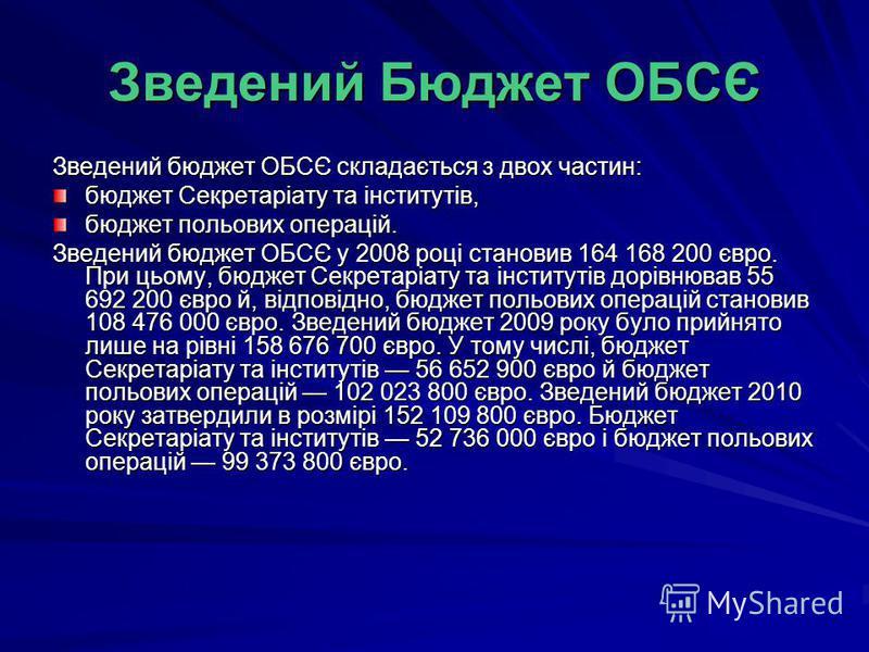 Зведений Бюджет ОБСЄ Зведений бюджет ОБСЄ складається з двох частин: бюджет Секретаріату та інститутів, бюджет польових операцій. Зведений бюджет ОБСЄ у 2008 році становив 164 168 200 євро. При цьому, бюджет Секретаріату та інститутів дорівнював 55 6