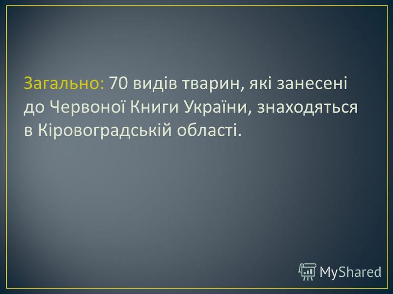 Загально : 70 видів тварин, які занесені до Червоної Книги України, знаходяться в Кіровоградській області.