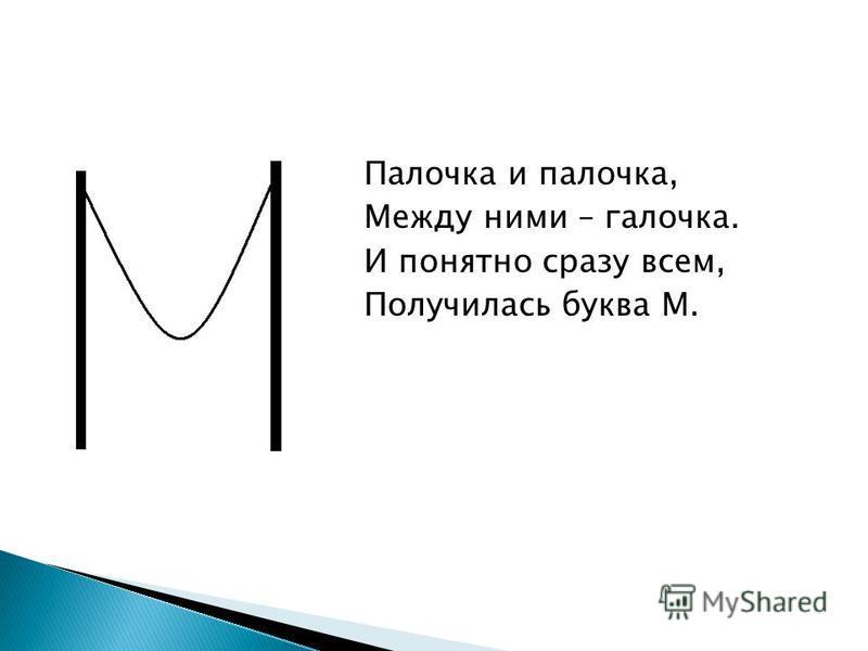 Палочка и палочка, Между ними – галочка. И понятно сразу всем, Получилась буква М.