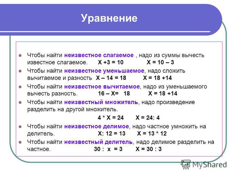 Уравнение Чтобы найти неизвестное слагаемое, надо из суммы вычесть известное слагаемое. Х +3 = 10 Х = 10 – 3 Чтобы найти неизвестное уменьшаемое, надо сложить вычитаемое и разность Х – 14 = 18 Х = 18 +14 Чтобы найти неизвестное вычитаемое, надо из ум