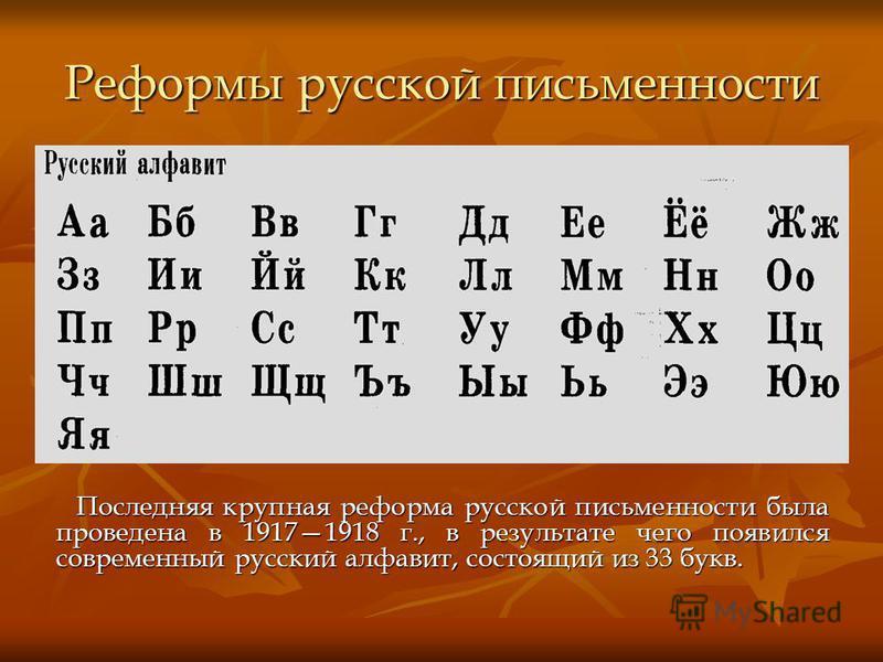 Реформы русской письменности Последняя крупная реформа русской письменности была проведена в 19171918 г., в результате чего появился современный русский алфавит, состоящий из 33 букв. Последняя крупная реформа русской письменности была проведена в 19