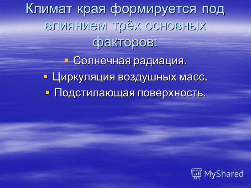 Климат края формируется под влиянием трёх основных факторов: Солнечная радиация. Солнечная радиация. Циркуляция воздушных масс. Циркуляция воздушных масс. Подстилающая поверхность. Подстилающая поверхность.