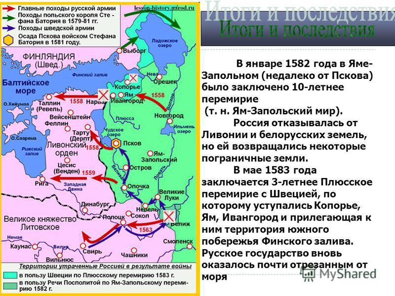 В январе 1582 года в Яме- Запольном (недалеко от Пскова) было заключено 10-летнее перемирие (т. н. Ям-Запольский мир). Россия отказывалась от Ливонии и белорусских земель, но ей возвращались некоторые пограничные земли. В мае 1583 года заключается 3-