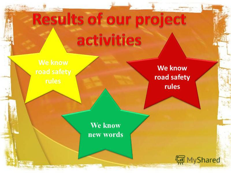 We know road safety rules We know new words
