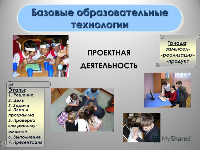 16 Базовые образовательные технологии технологии ПРОЕКТНАЯ ДЕЯТЕЛЬНОСТЬ Триада: замысел- -реализация- -продукт Этапы: 1. Решение 2. Цель 3. Задачи 4. План и программа 5. Проверка «на реализуемость » 6. Выполнение 7. Презентация