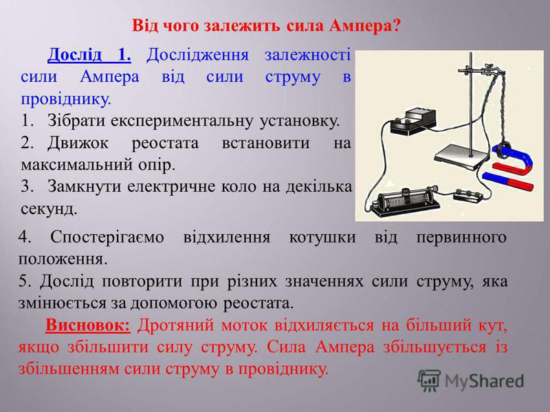 Від чого залежить сила Ампера? Дослід 1. Дослідження залежності сили Ампера від сили струму в провіднику. 1.Зібрати експериментальну установку. 2.Движок реостата встановити на максимальний опір. 3.Замкнути електричне коло на декілька секунд. 4. Спост