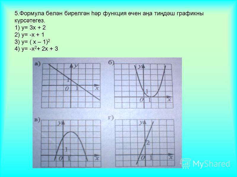 5.Формула белән бирелгән һәр функция өчен аңа тиңдәш графикны күрсәтегез. 1) у= 3х + 2 2) у= -х + 1 3) у= ( х – 1) 2 4) у= -х 2 + 2х + 3