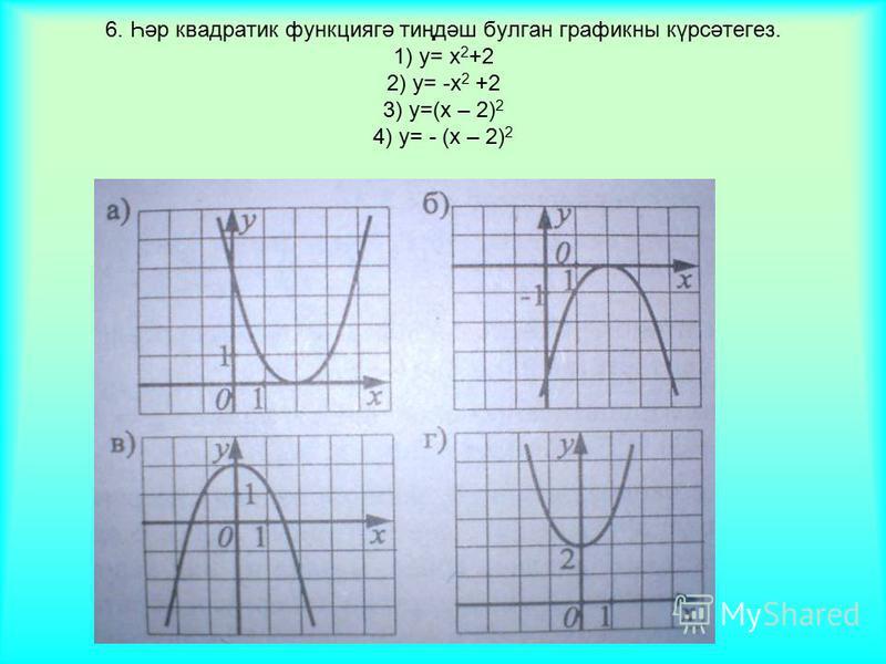 6. Һәр квадратик функциягә тиңдәш булган графикны күрсәтегез. 1) у= х 2 +2 2) у= -х 2 +2 3) у=(х – 2) 2 4) у= - (х – 2) 2