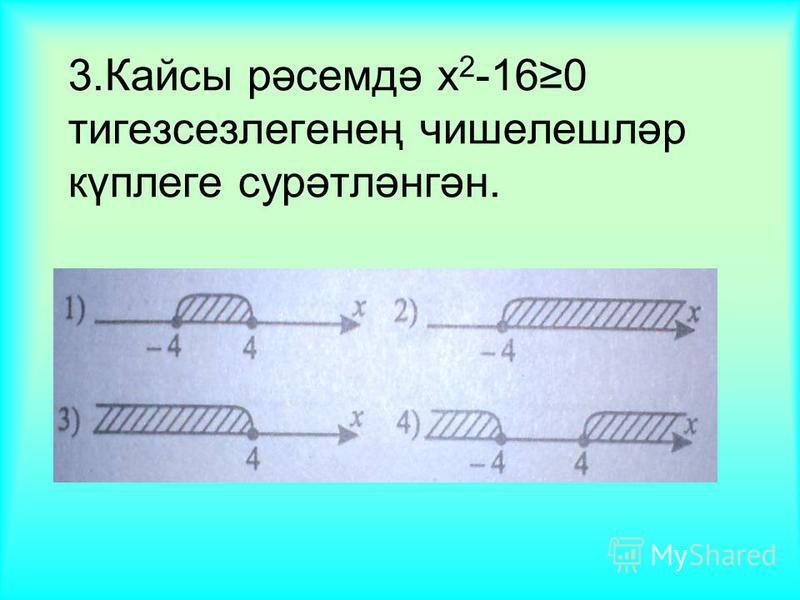 3.Кайсы рәсемдә x 2 -160 тигезсезлегенең чишелешләр күплеге сурәтләнгән.