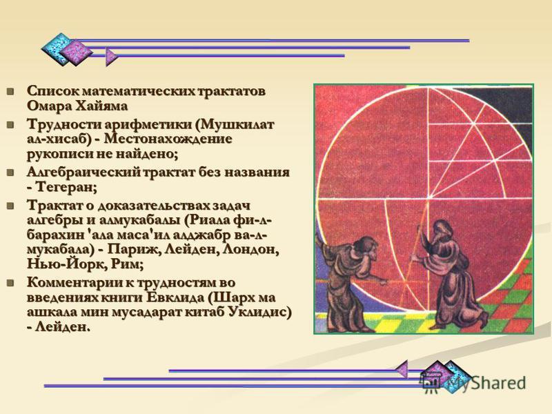 С 1074 года Хайям возглавлял крупнейшую астрономическую обсерваторию. В середине 90-х г.г. XI века совершил паломничество в Мекку. Последние годы жизни Хайям провел в Нишапуре. С 1074 года Хайям возглавлял крупнейшую астрономическую обсерваторию. В с