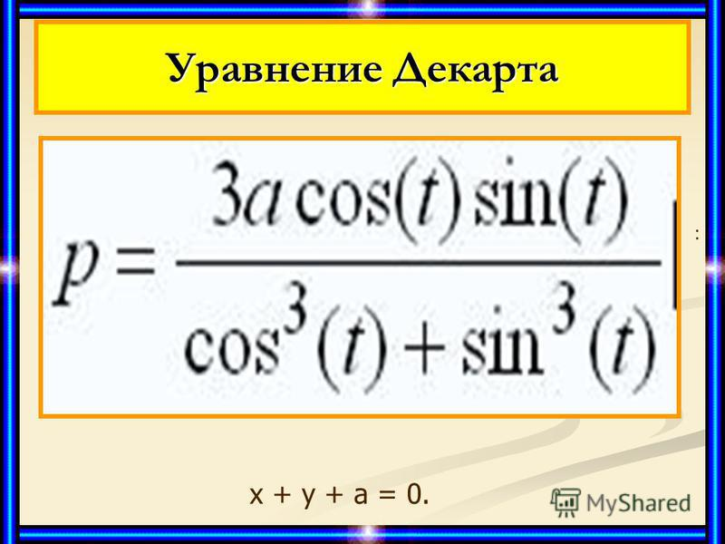 Декартов лист алгебраическая кривая 3-го порядка: алгебраическая кривая 3-го порядка: х 3 + у 3 - 3 аху = 0; х 3 + у 3 - 3 аху = 0; параметрическое уравнение: параметрическое уравнение: