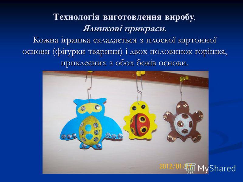 Кожна іграшка складається з плоскої картонної основи (фігурки тварини) і двох половинок горішка, приклеєних з обох боків основи. Технологія виготовлення виробу. Ялинкові прикраси. Кожна іграшка складається з плоскої картонної основи (фігурки тварини)