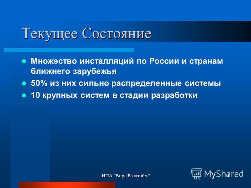 НПА Вира Реалтайм11 Текущее Состояние Множество инсталляций по России и странам ближнего зарубежья 50% из них сильно распределенные системы 10 крупных систем в стадии разработки