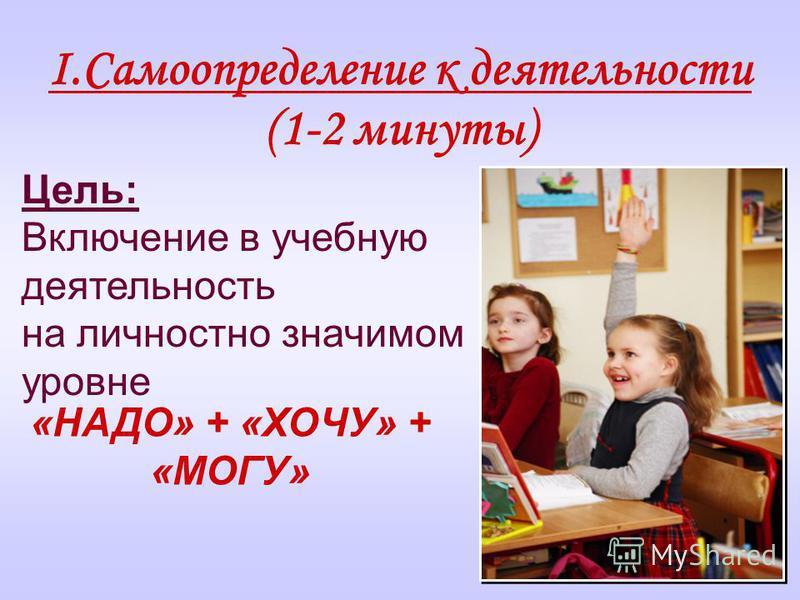 I.Самоопределение к деятельности (1-2 минуты) Цель: Включение в учебную деятельность на личностно значимом уровне «НАДО» + «ХОЧУ» + «МОГУ»