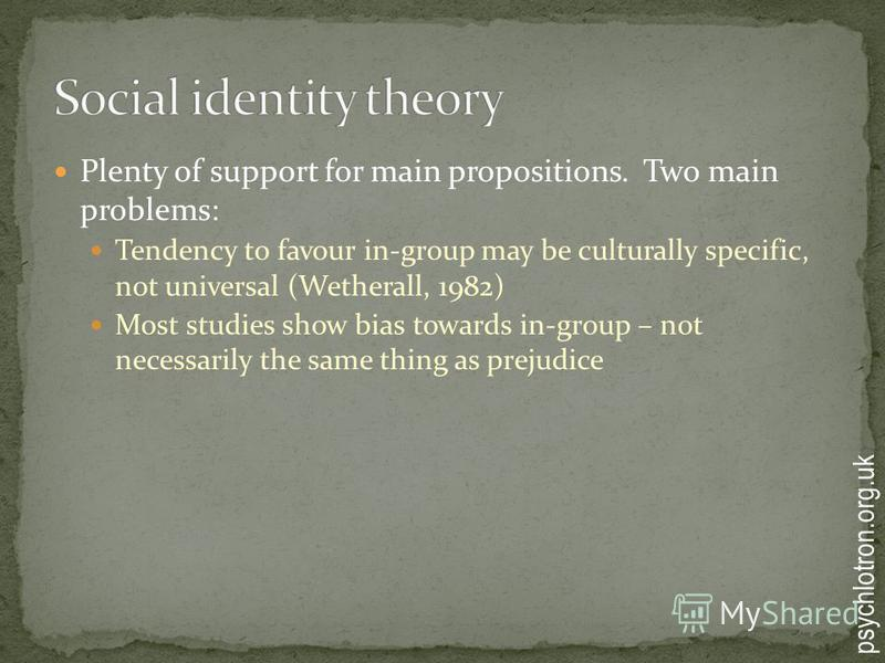 Plenty of support for main propositions. Two main problems: Tendency to favour in-group may be culturally specific, not universal (Wetherall, 1982) Most studies show bias towards in-group – not necessarily the same thing as prejudice psychlotron.org.
