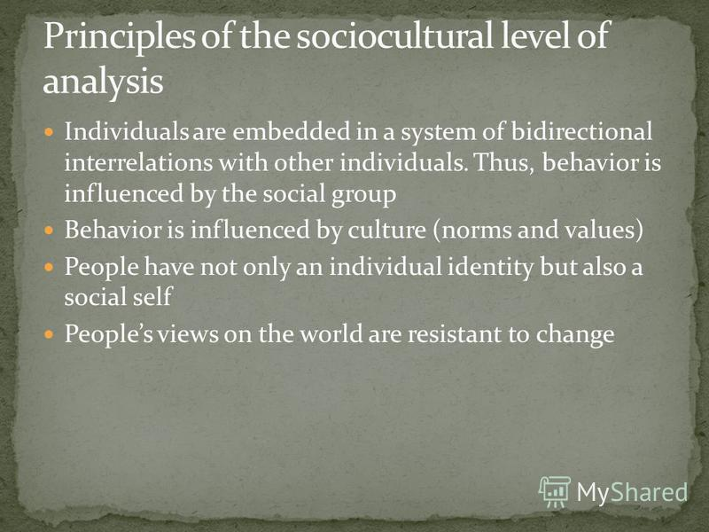 Individuals are embedded in a system of bidirectional interrelations with other individuals. Thus, behavior is influenced by the social group Behavior is influenced by culture (norms and values) People have not only an individual identity but also a