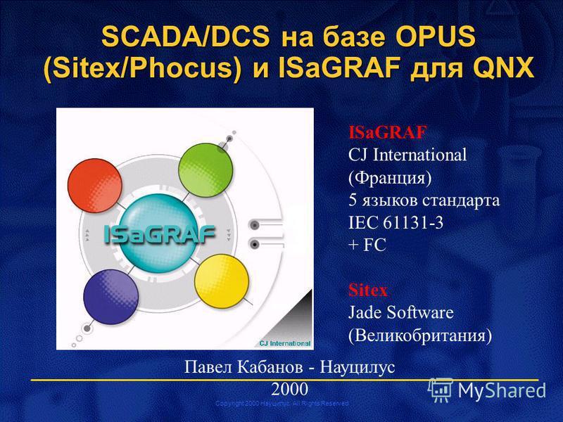 Copyright 2000 Науцилус. All Rights Reserved Павел Кабанов - Науцилус 2000 SCADA/DCS на базе OPUS (Sitex/Phocus) и ISaGRAF для QNX ISaGRAF CJ International (Франция) 5 языков стандарта IEC 61131-3 + FC Sitex Jade Software (Великобритания)
