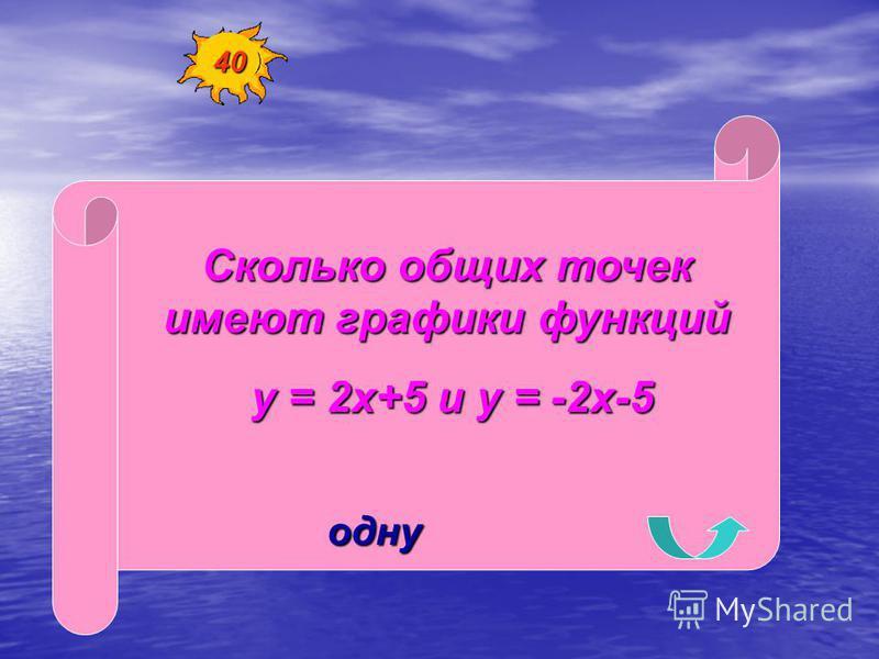Сколько общих точек имеют графики функций у = 2 х+5 и у = -2 х-5 у = 2 х+5 и у = -2 х-5 одну 40