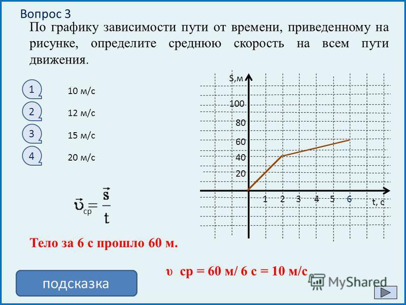 V,м/с t, с 12345 2 4 6 8 -2 -4 -6 -8 По графику зависимости проекции скорости от времени определите перемещение тела за 8 с 1 2 3 4 32 м 64 м 16 м 4 м подсказка Площадь фигуры под графиком скорости численно равна перемещению тела S = S треугольника =