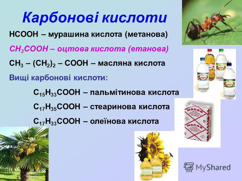 Карбонові кислоти HCOOH – мурашина кислота (метанова) CH 3 COOH – оцтова кислота (етанова) CH 3 – (CH 2 ) 2 – COOH – масляна кислота Вищі карбонові кислоти: C 15 H 33 COOH – пальмітинова кислота C 17 H 35 COOH – стеаринова кислота C 17 H 33 COOH – ол