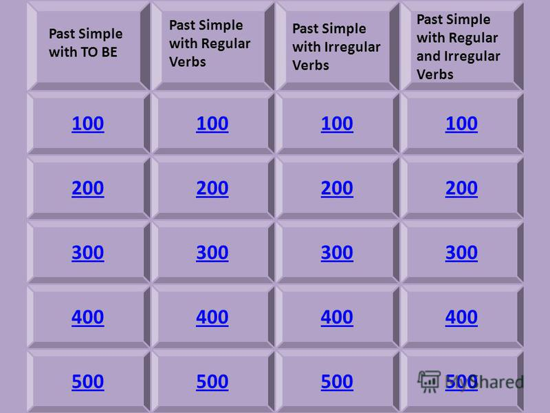 Past Simple with Irregular Verbs Past Simple with Regular and Irregular Verbs 100 200 300 400 500 Past Simple with TO BE Past Simple with Regular Verbs