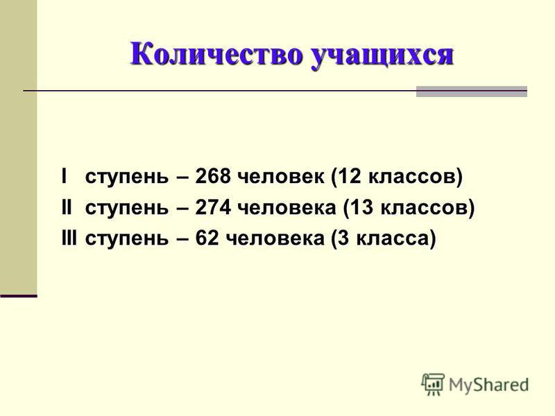 Количество учащихся I ступень – 268 человек (12 классов) II ступень – 274 человека (13 классов) III ступень – 62 человека (3 класса)