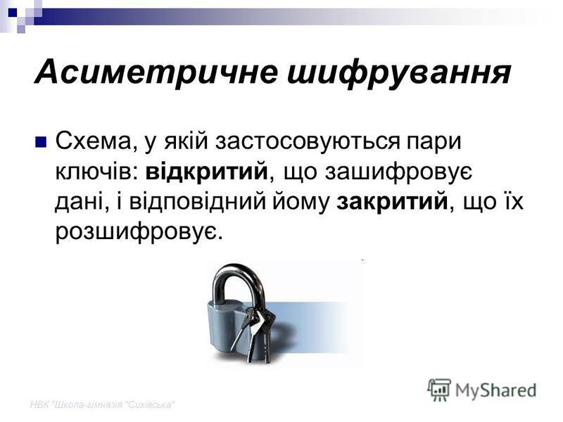 НВК Школа-гімназія Сихівська Асиметричне шифрування Схема, у якій застосовуються пари ключів: відкритий, що зашифровує дані, і відповідний йому закритий, що їх розшифровує.