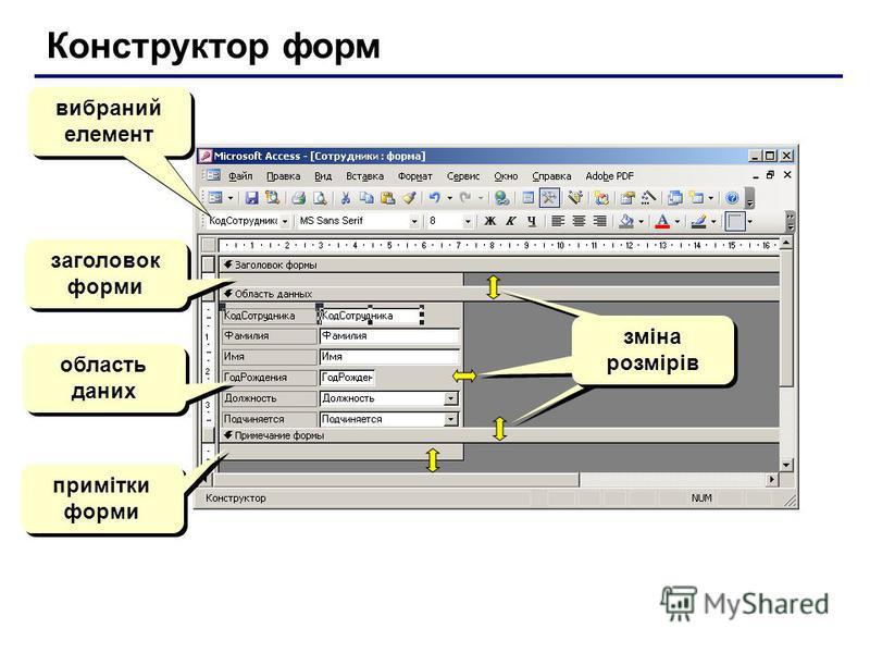 Конструктор форм вибраний елемент заголовок форми область даних примітки форми зміна розмірів