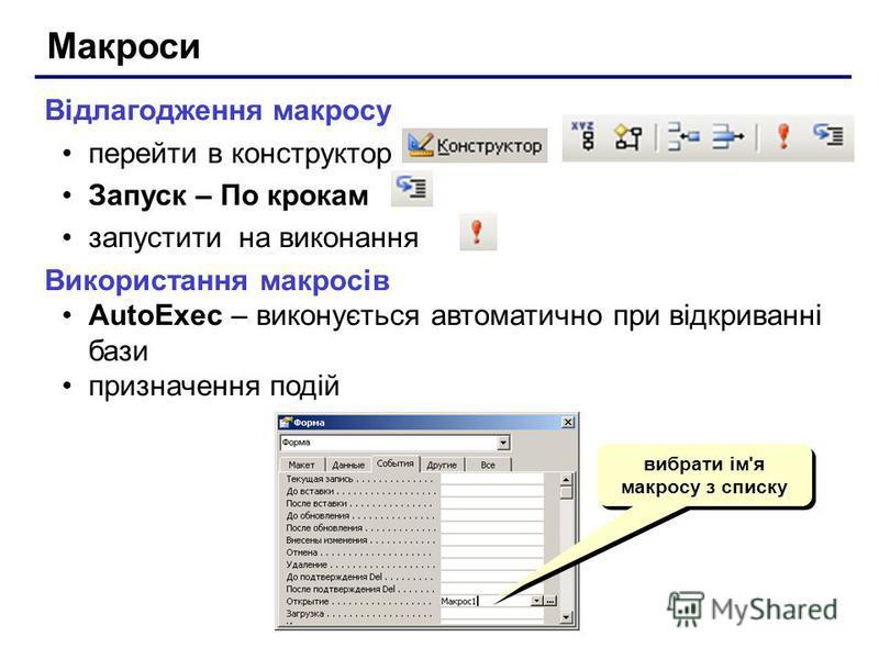 Макроси Відлагодження макросу перейти в конструктор Запуск – По крокам запустити на виконання Використання макросів AutoExec – виконується автоматично при відкриванні бази призначення подій вибрати ім'я макросу з списку