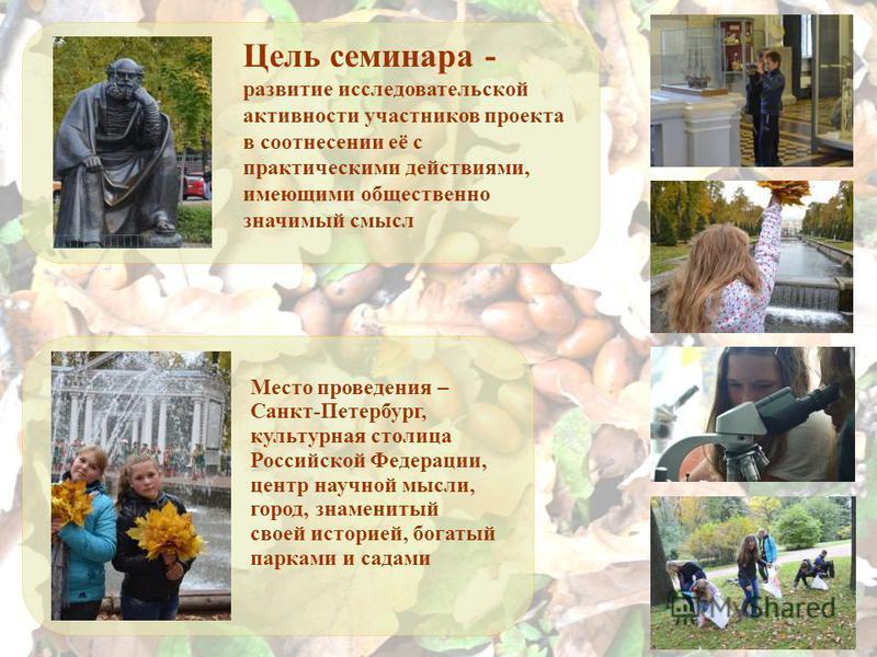 Цель семинара - развитие исследовательской активности участников проекта в соотнесении её с практическими действиями, имеющими общественно значимый смысл Место проведения – Санкт-Петербург, культурная столица Российской Федерации, центр научной мысли
