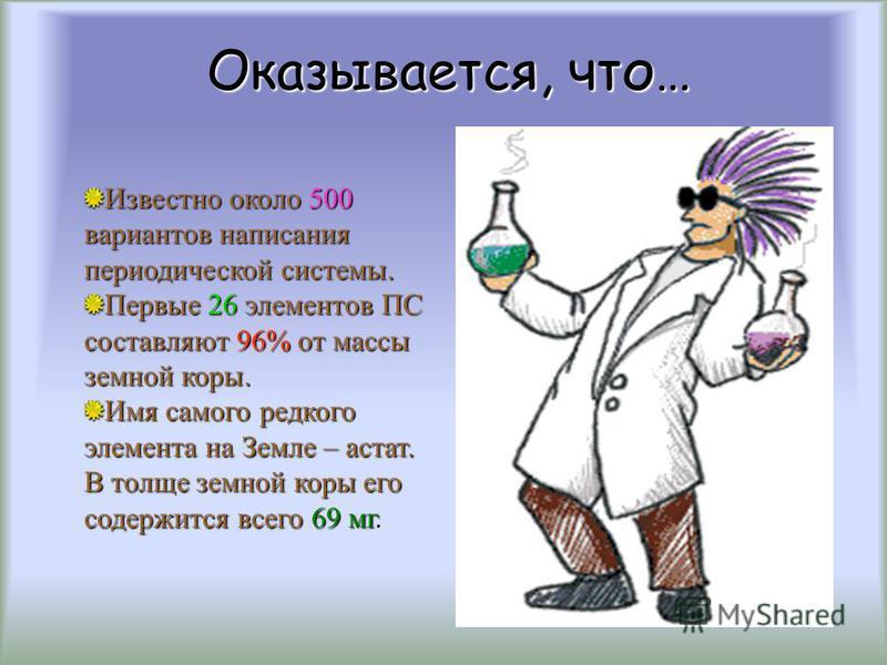 Оказывается, что… Самый тяжелый из природных элементов – уран. Фтор – самый яростный в царстве неметаллов, ничто не может устоять под его «натиском». Соотношение между числом металлов и неметаллов в ПС выражается прямо-таки баскетбольным счетом – 22: