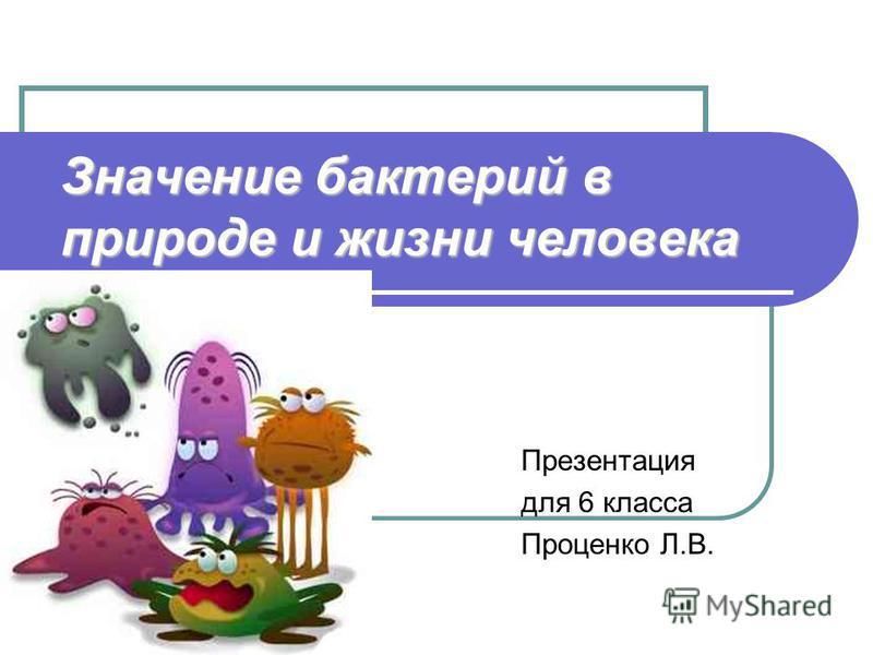 Значение бактерий в природе и жизни человека Презентация для 6 класса Проценко Л.В.