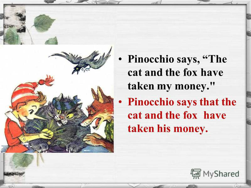 Pinocchio says, The cat and the fox have taken my money. Pinocchio says that the cat and the fox have taken his money.