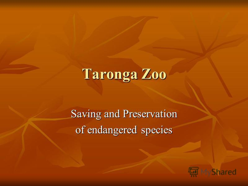 Taronga Zoo Saving and Preservation of endangered species