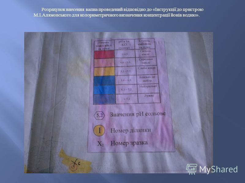 Розрахунок внесення вапна проведений відповідно до « Інструкції до пристрою М. І. Алямовського для колориметричного визначення концентрації йонів водню ».
