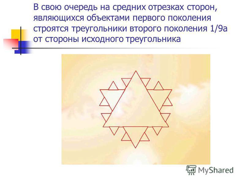 В свою очередь на средних отрезках сторон, являющихся объектами первого поколения строятся треугольники второго поколения 1/9 а от стороны исходного треугольника