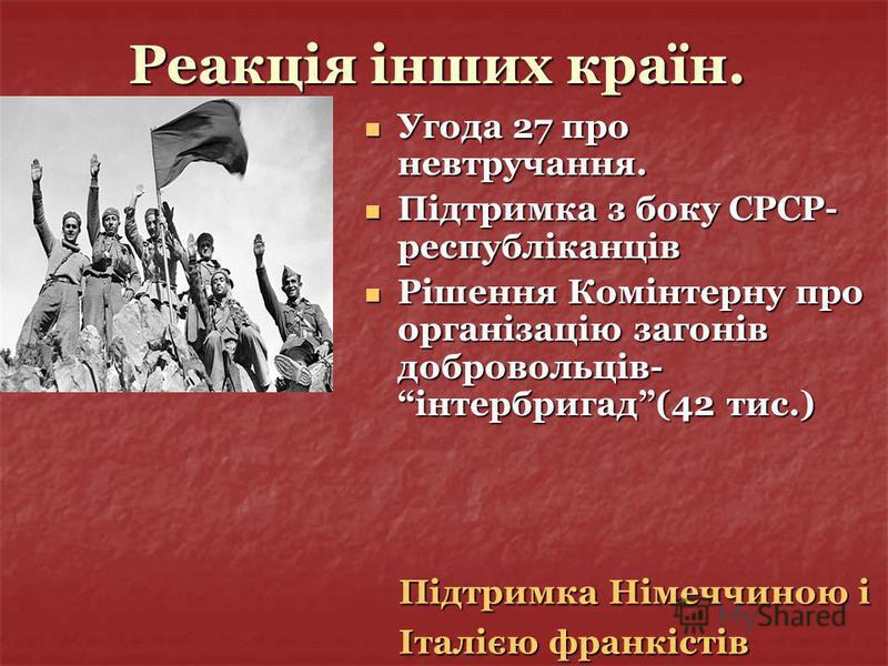 Реакція інших країн. Угода 27 про невтручання. Угода 27 про невтручання. Підтримка з боку СРСР- республіканців Підтримка з боку СРСР- республіканців Рішення Комінтерну про організацію загонів добровольців- інтербригад(42 тис.) Рішення Комінтерну про
