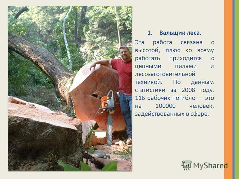 1. Вальщик леса. Эта работа связана с высотой, плюс ко всему работать приходится с цепными пилами и лесозаготовительной техникой. По данным статистики за 2008 году, 116 рабочих погибло это на 100000 человек, задействованных в сфере.