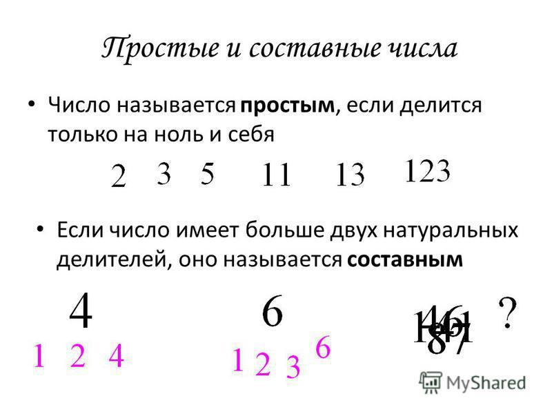 Простые и составные числа Число называется простым, если делится только на ноль и себя Если число имеет больше двух натуральных делителей, оно называется составным