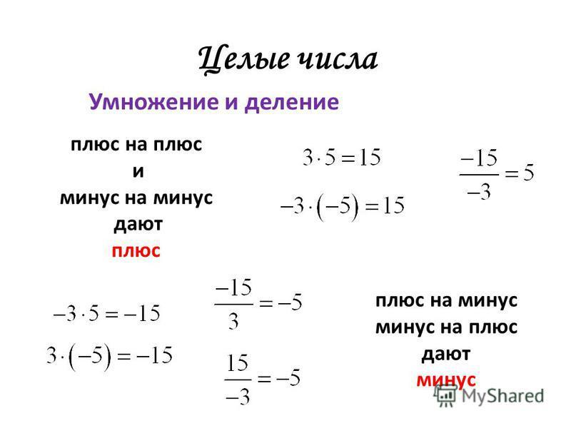 Целые числа Умножение и деление плюс на плюс и минус на минус дают плюс плюс на минус минус на плюс дают минус