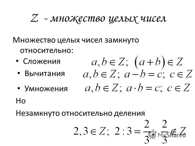 Z - множество целых чисел Множество целых чисел замкнуто относительно: Сложения Вычитания Умножения Но Незамкнуто относительно деления