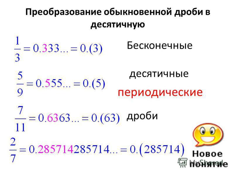 Преобразование обыкновенной дроби в десятичную Бесконечные десятичные дроби периодические