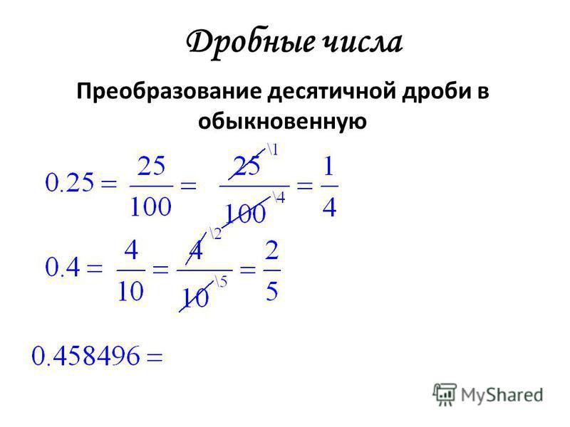 Дробные числа Преобразование десятичной дроби в обыкновенную