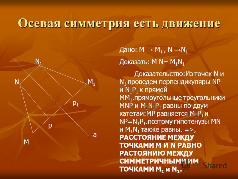 Осевая симметрия есть движение М N N1N1 M1M1 a Дано: М М 1, N N 1 Доказать: M N= M 1 N 1 Доказательство:Из точек N и N 1 проведем перпендикуляры NP и N 1 P 1 к прямой MM 1. прямоугольные треугольники MNP и M 1 N 1 P 1 равны по двум катетам:MP равняет