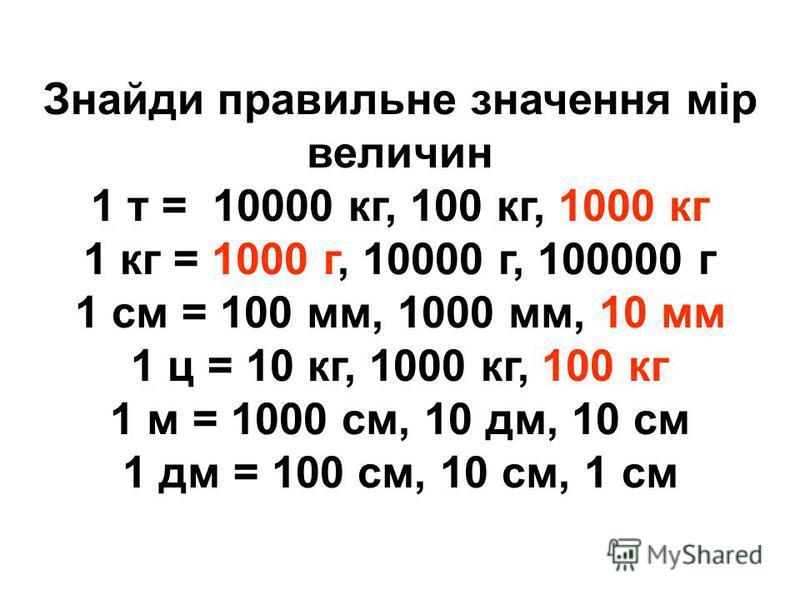 Знайди правильне значення мір величин 1 т = 10000 кг, 100 кг, 1000 кг 1 кг = 1000 г, 10000 г, 100000 г 1 см = 100 мм, 1000 мм, 10 мм 1 ц = 10 кг, 1000 кг, 100 кг 1 м = 1000 см, 10 дм, 10 см 1 дм = 100 см, 10 см, 1 см